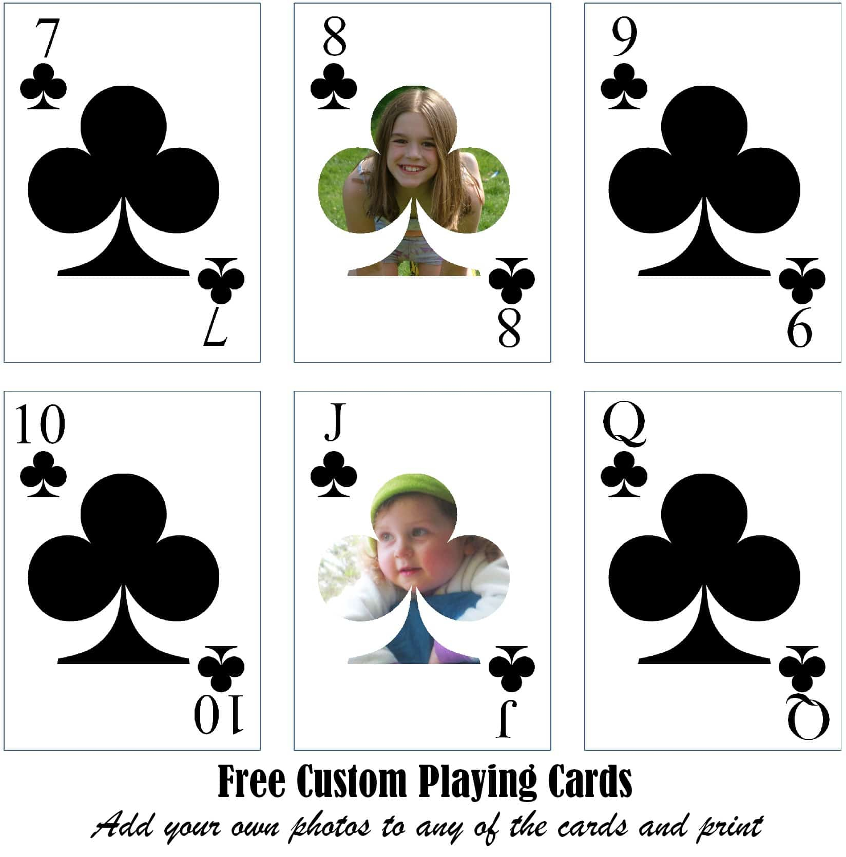 Free Printable Custom Playing Cards | Add Your Photo And/or Text For Custom Playing Card Template