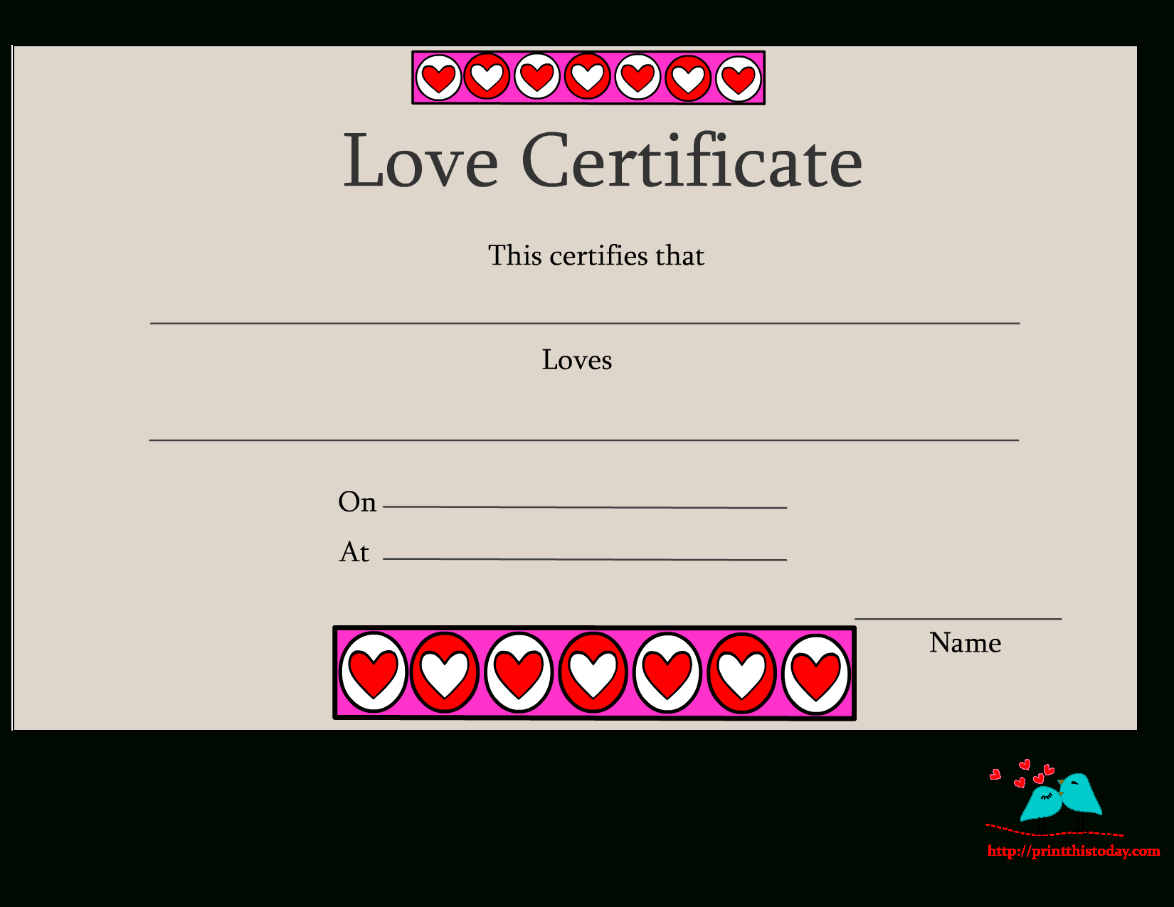 Free Printable Love Certificates Within Love Certificate Templates