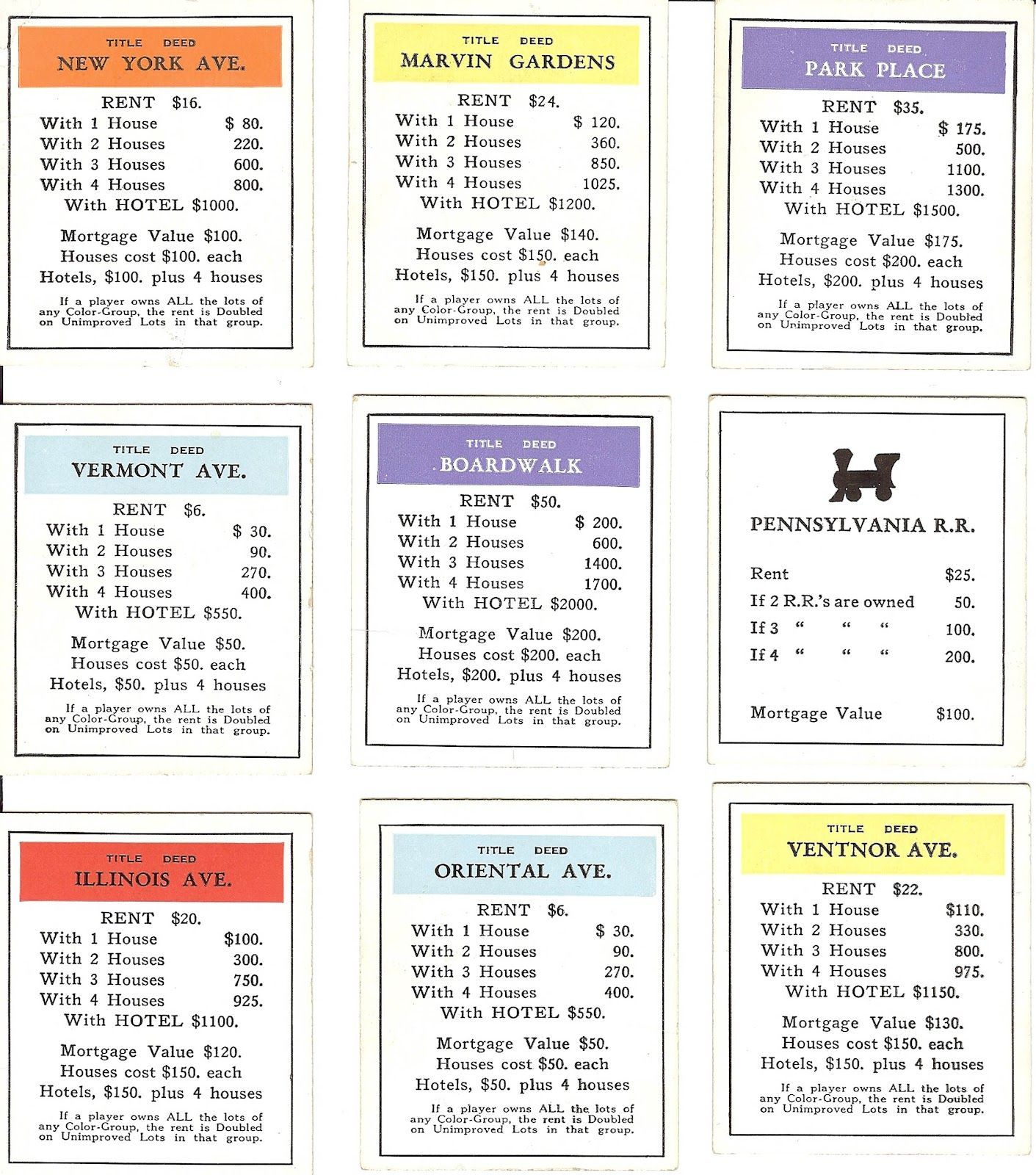 Free Printable Monopoly Cards #1 Of 20 – Printable Icio.ru In Monopoly Property Card Template