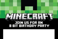 Free Printable Online Invitations Invitation Card Maker within Minecraft Birthday Card Template