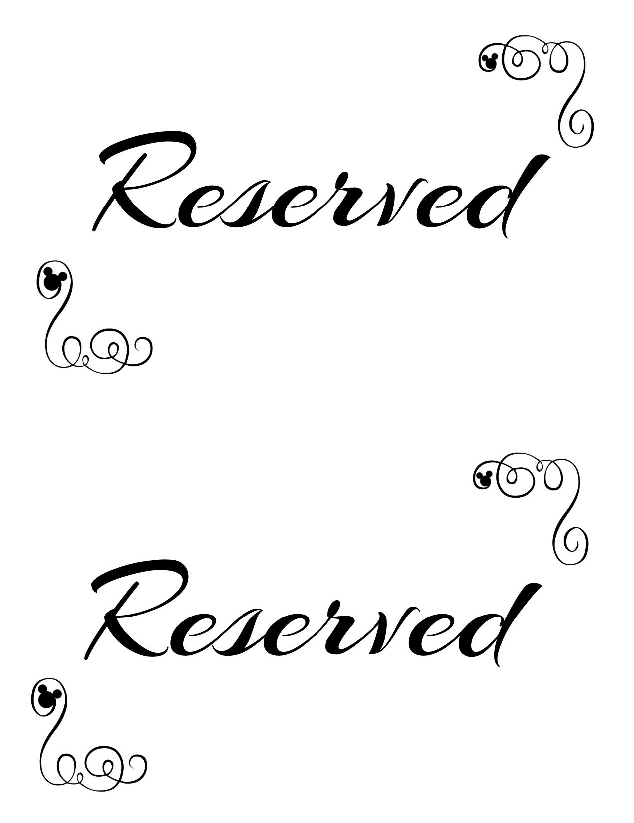Free Printable Reserved Seating Signs For Your Wedding In Reserved Cards For Tables Templates