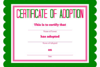 Free Printable Stuffed Animal Adoption Certificate inside Blank Adoption Certificate Template