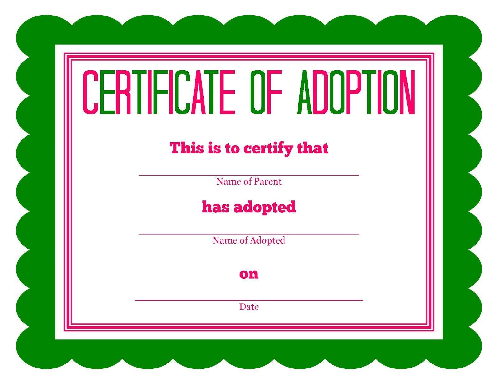 Free Printable Stuffed Animal Adoption Certificate Within Pet Adoption Certificate Template