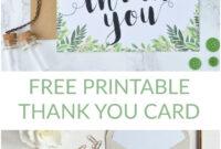Free Printable Thank You Botanical Inspired Card for Free Printable Thank You Card Template