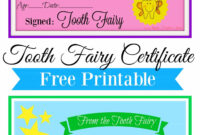Free Printable Tooth Fairy Certificate | Tooth Fairy Ideas for Tooth Fairy Certificate Template Free