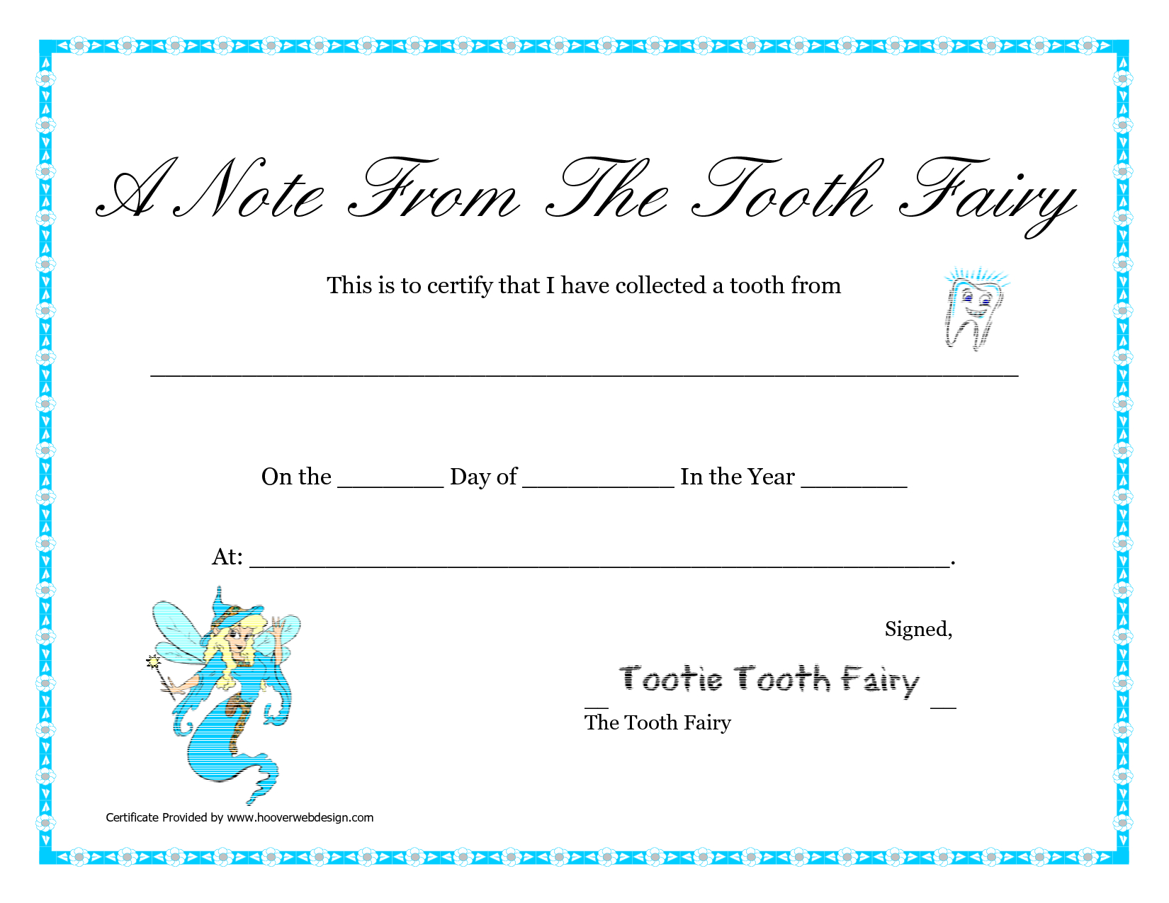 Free Printable Tooth Fairy Letter   Tooth Fairy Certificate Within Free Tooth Fairy Certificate Template