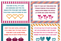 Free Printable Valentine's Day Scavenger Hunt Kids & Adults with regard to Clue Card Template