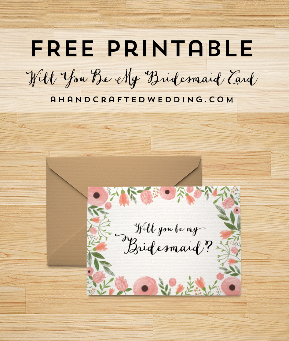 Free Printable Will You Be My Bridesmaid Card     Freebies Inside Will You Be My Bridesmaid Card Template
