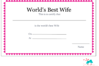 Free Printable World's Best Wife Certificates with Love Certificate Templates