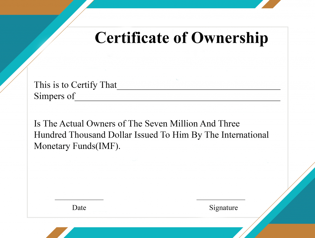 Free Sample Certificate Of Ownership Templates | Certificate Throughout Certificate Of Ownership Template