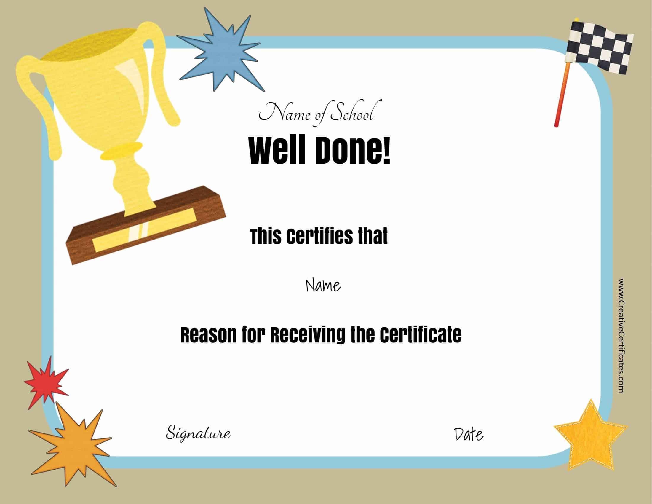 Free School Certificates & Awards For Free School Certificate Templates
