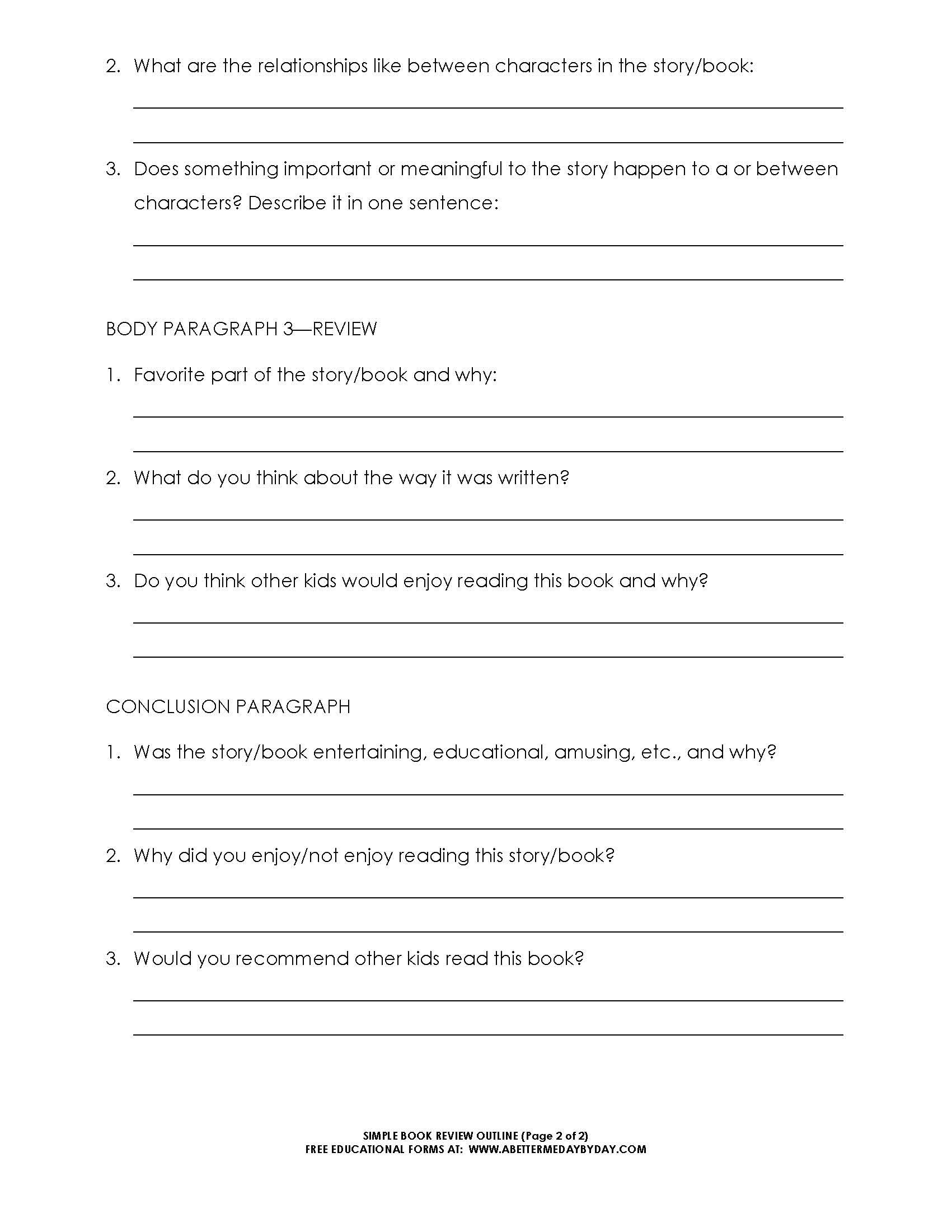 Free: Simple 5 Paragraph Book Review Or Report Outline Form Intended For One Page Book Report Template