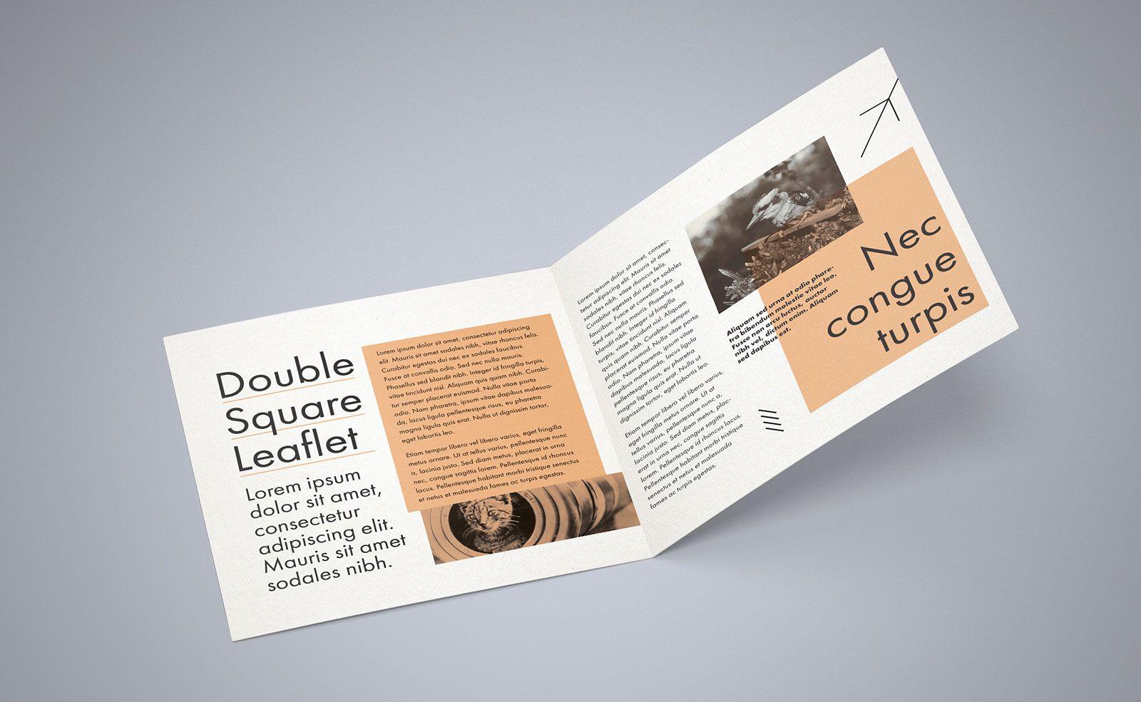 Free Square Bi Fold Brochure Mockup Psd File 2 | Bi Fold Throughout 2 Fold Brochure Template Free
