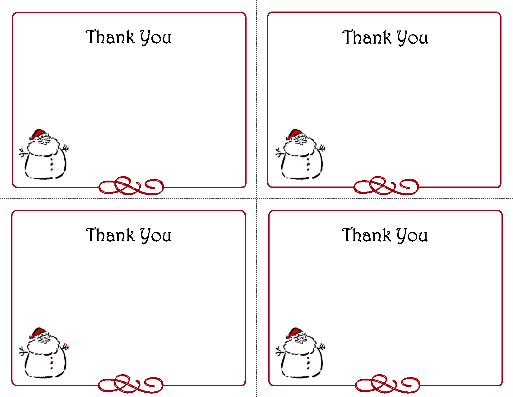 Free Thank You Cards Printable | Free Printable Holiday Gift With Christmas Thank You Card Templates Free
