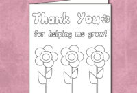 Free Thank You For Helping Me Grow – Coloring Card Printable throughout Thank You Card For Teacher Template