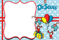 Free Thing 1 And Thing 2 Dr. Seuss Invitation Templates pertaining to Dr Seuss Birthday Card Template