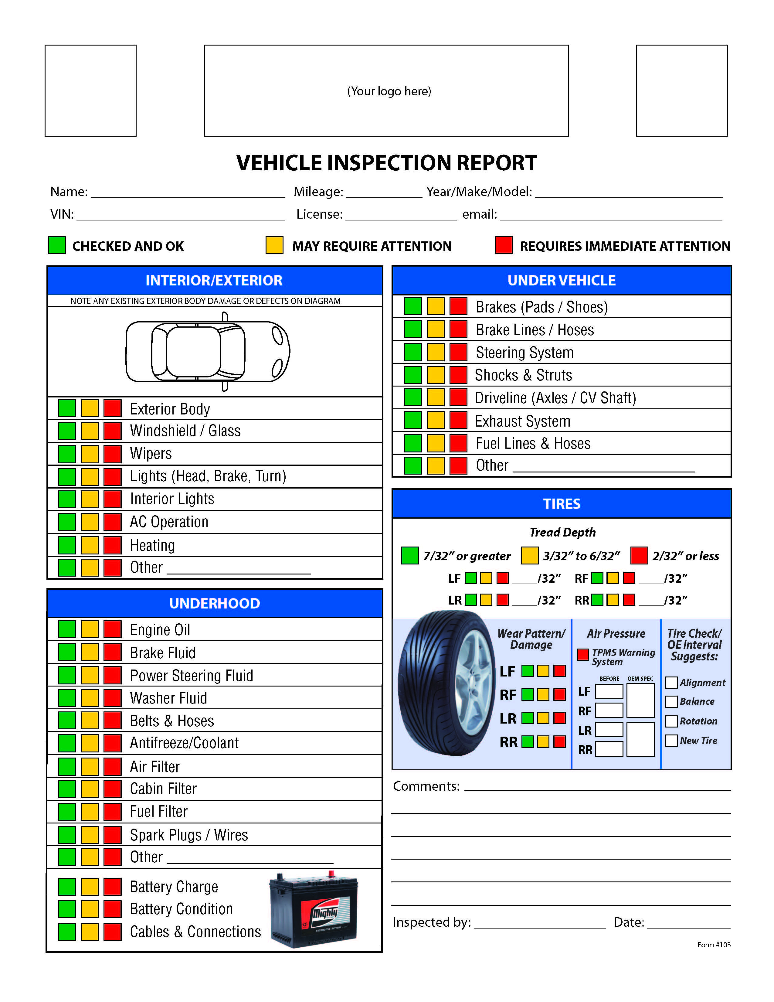 Free Vehicle Inspection Checklist Form | Good To Know Within Vehicle Checklist Template Word