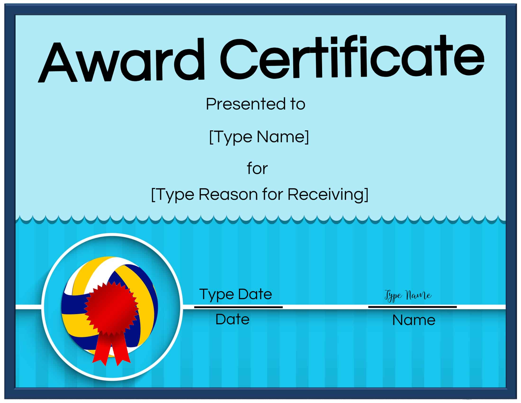 Free Volleyball Certificate | Customize Online & Print In With Rugby League Certificate Templates