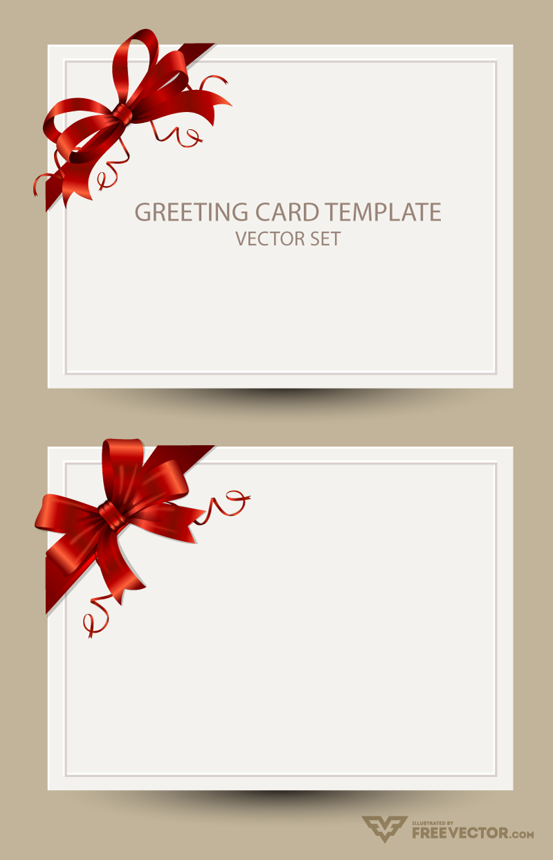 Freebie: Greeting Card Templates With Red Bow – Ai, Eps, Psd Regarding Greeting Card Layout Templates