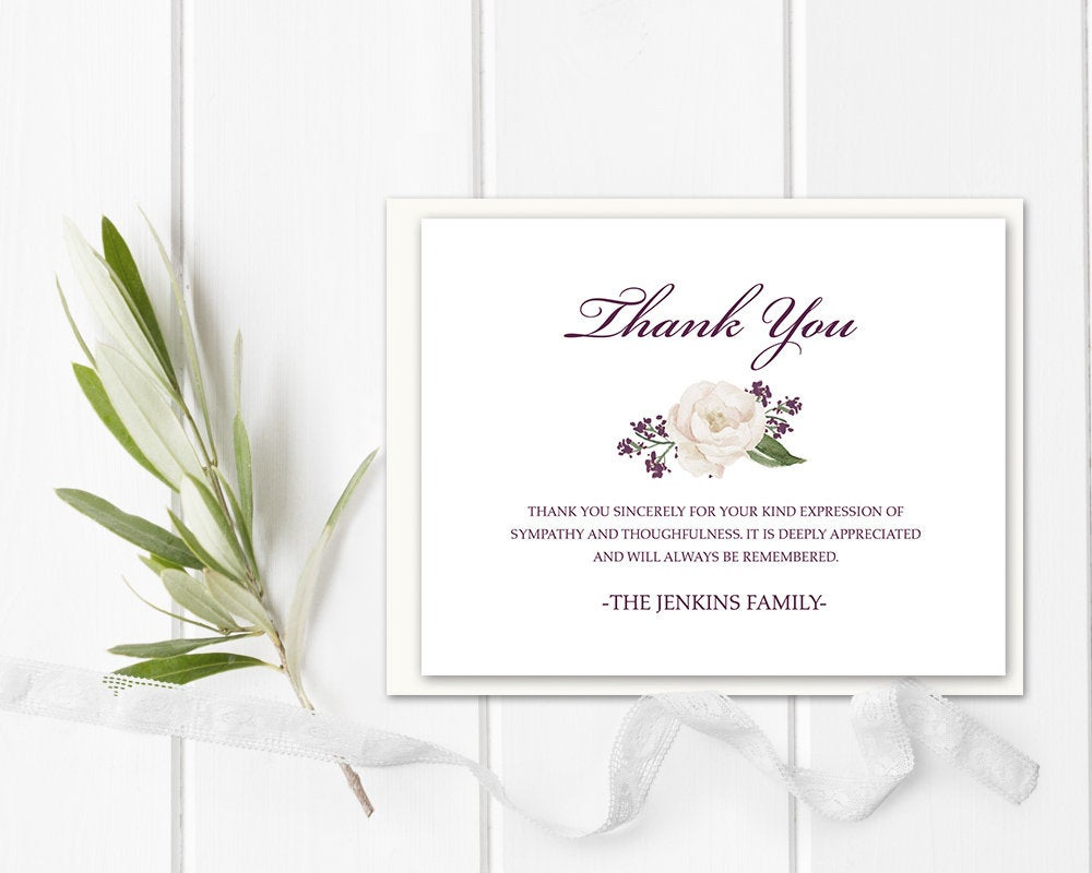 Funeral Acknowledgement Card Template Sympathy Thank You Note Funeral Cards  Memorial Service Funeral Printable Template Or Printed Floral With Regard To Sympathy Thank You Card Template