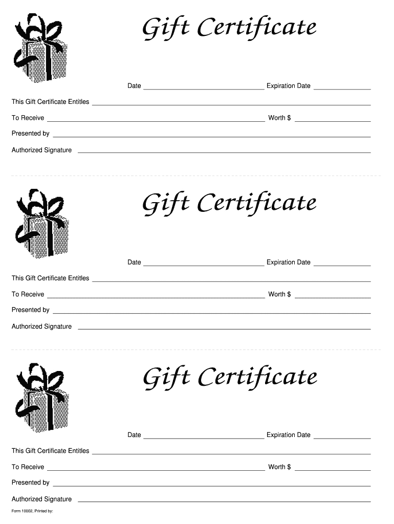 Gift Certificate Templates Printable - Fill Online In Fillable Gift Certificate Template Free