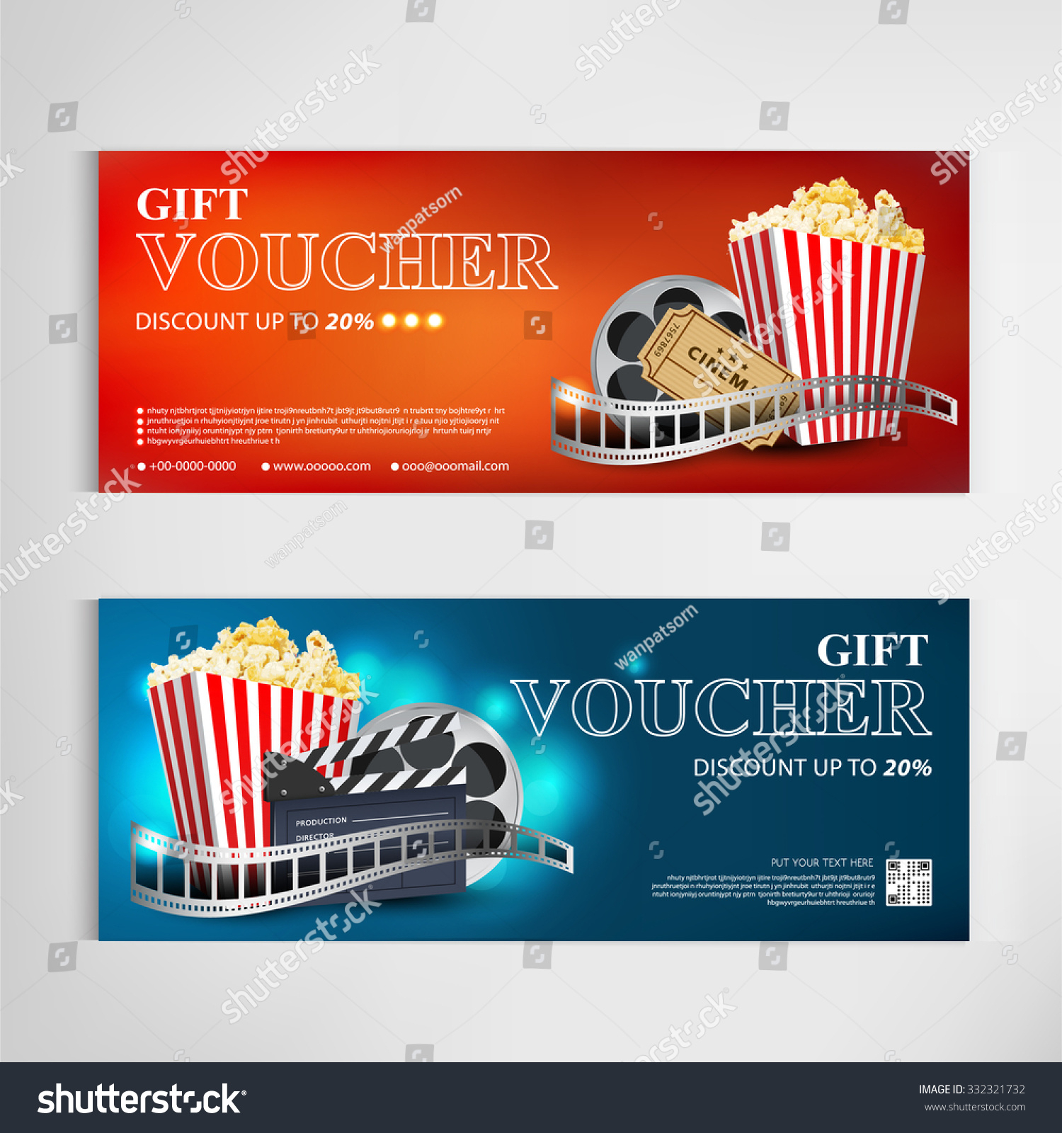 Gift Voucher Movie Template Modern… Stock Photo 332321732 With Regard To Movie Gift Certificate Template