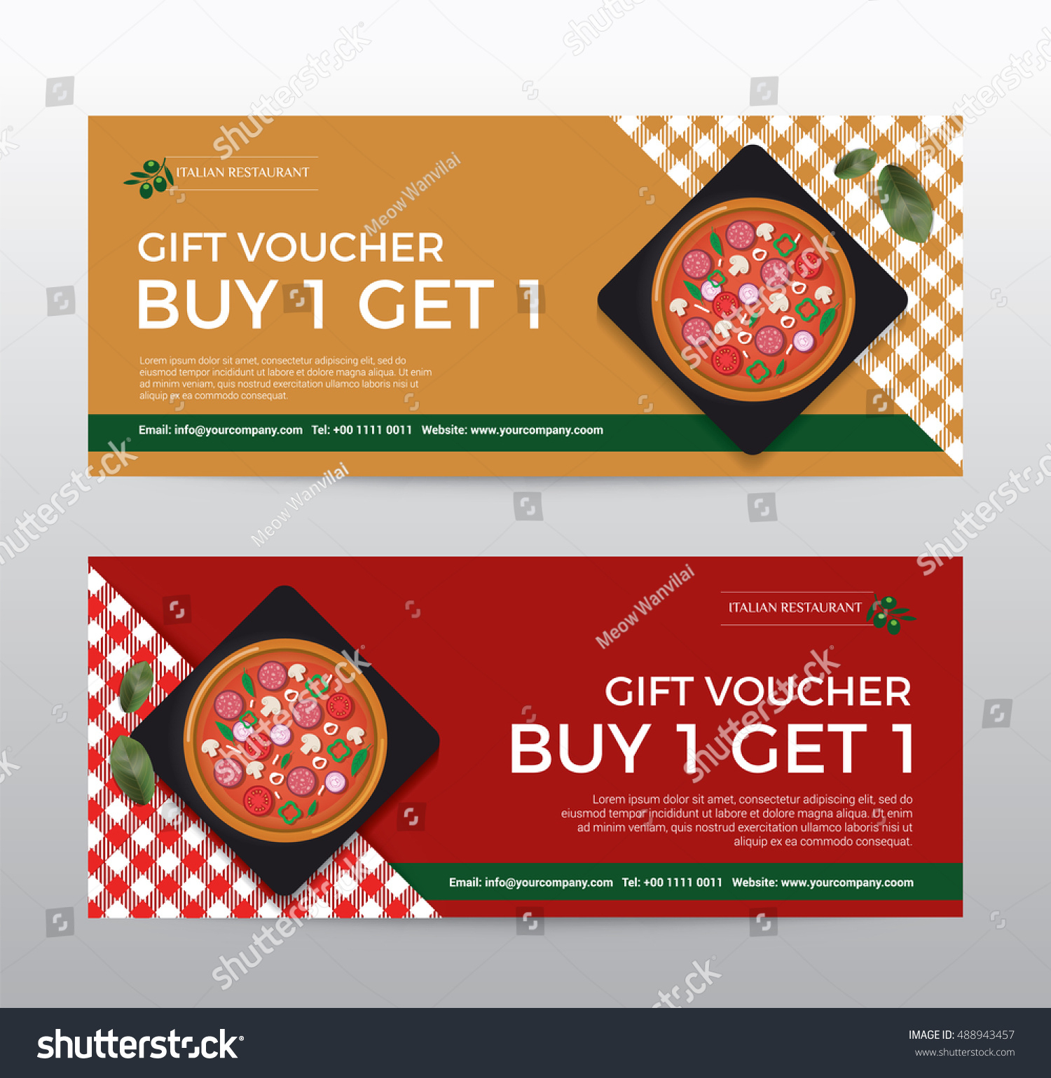 Gift Voucher Template Food Pizza Restaurant Stock Vector Pertaining To Pizza Gift Certificate Template