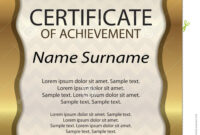 Gold Certificate Of Achievement Or Diploma. Template pertaining to Certificate Of Attainment Template