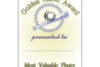 Golden Glove Award Certificate in Softball Certificate Templates