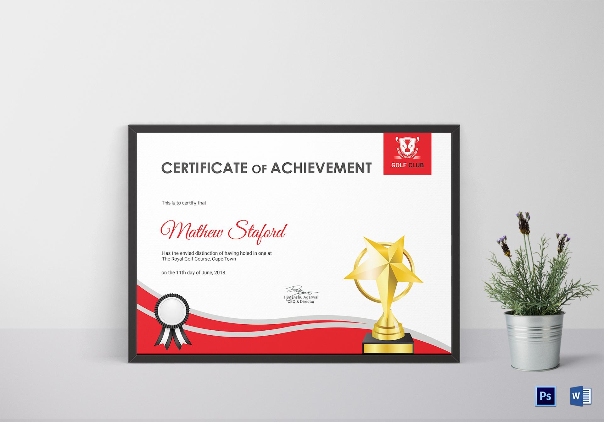Golf Achievement Certificate Template Pertaining To Golf Certificate Templates For Word