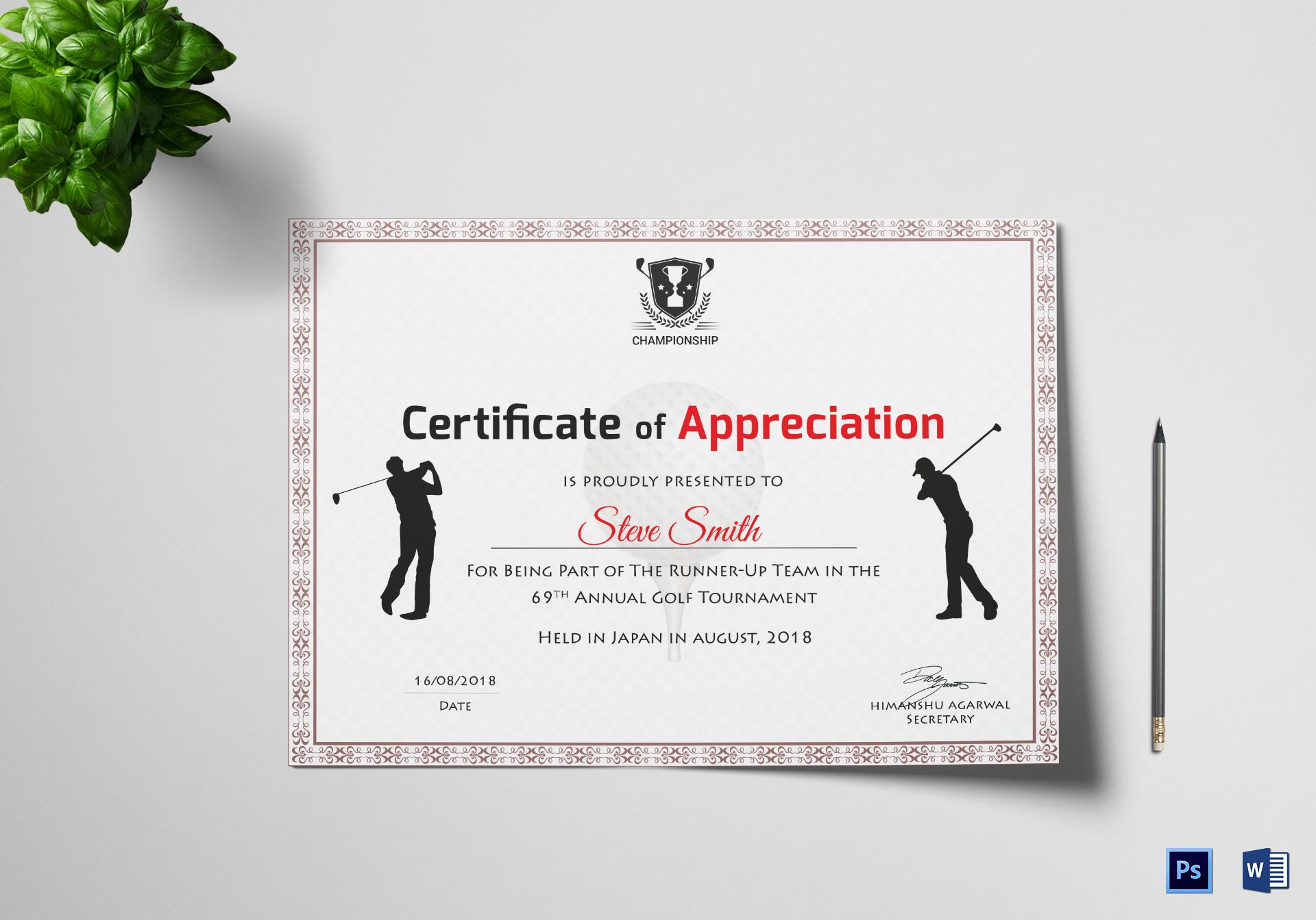 Golf Appreciation Certificate Template With Golf Certificate Templates For Word