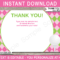 Golf Birthday Party Thank You Cards Template – Pink/green Throughout Thank You Note Cards Template