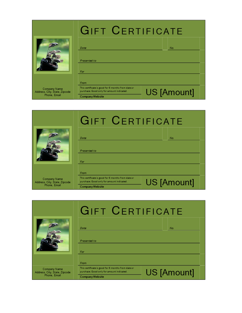Golf Gift Voucher - Download This Free Printable Golf Gift With Golf Gift Certificate Template