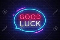Good Luck Neon Text Vector. Good Luck Neon Sign, Design Template,.. with regard to Good Luck Banner Template