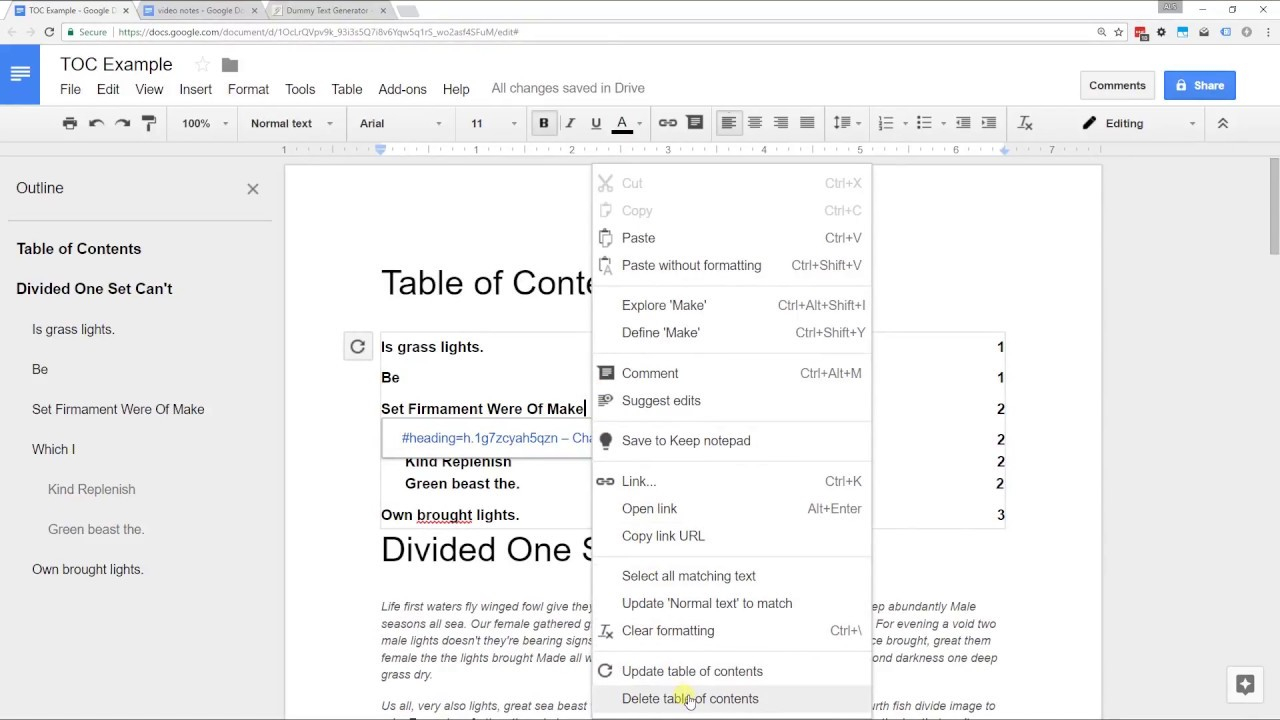 Google Docs – Create A Table Of Contents With Page Numbers Or Links Inside Contents Page Word Template