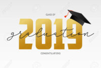 Graduating Card Template. Class Of 2019 – Banner With Gold Numbers.. with regard to Graduation Banner Template