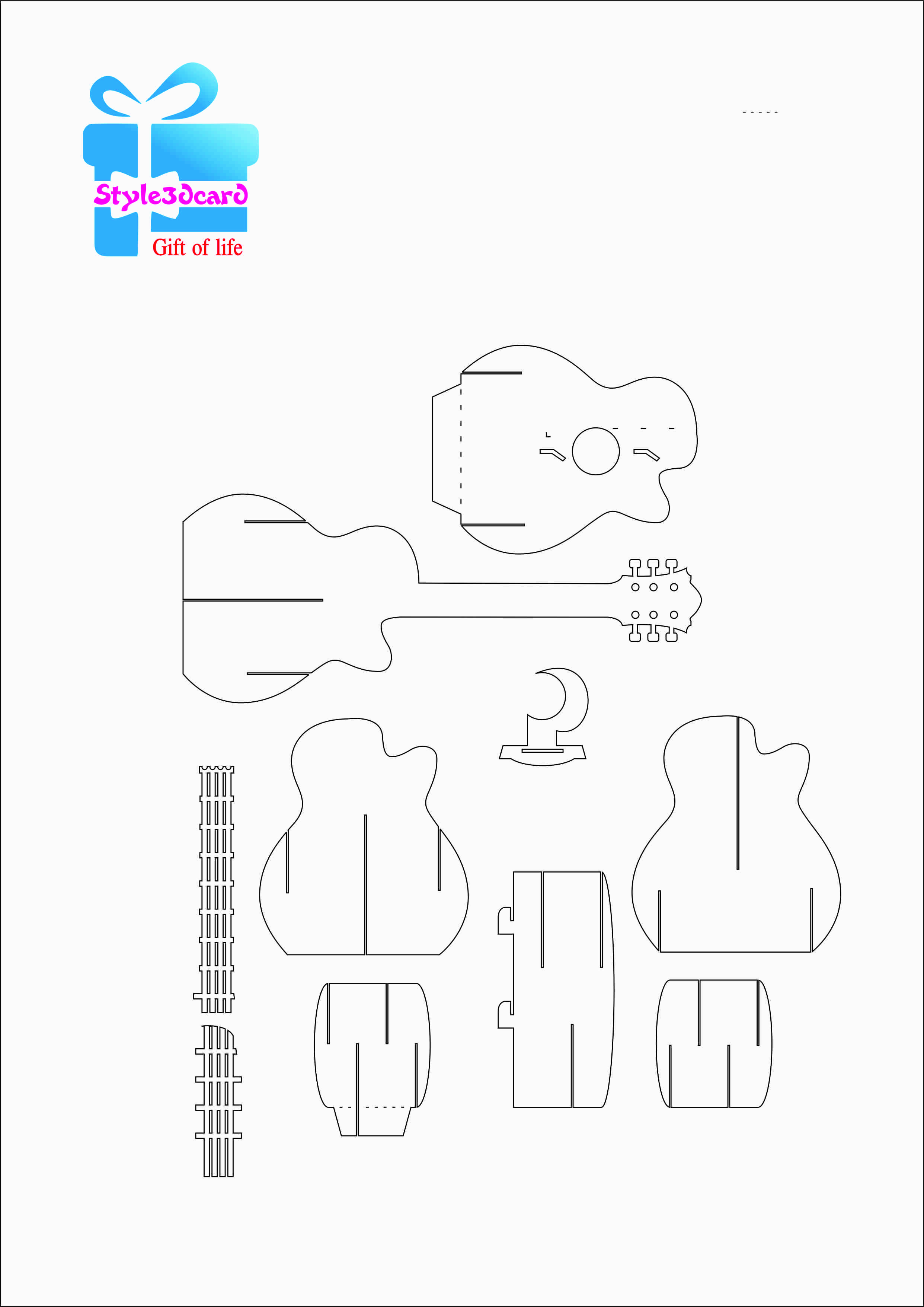 Guitar Pattern 3D Pop Up Card 1 | Pop Up Card Templates With Free Printable Pop Up Card Templates