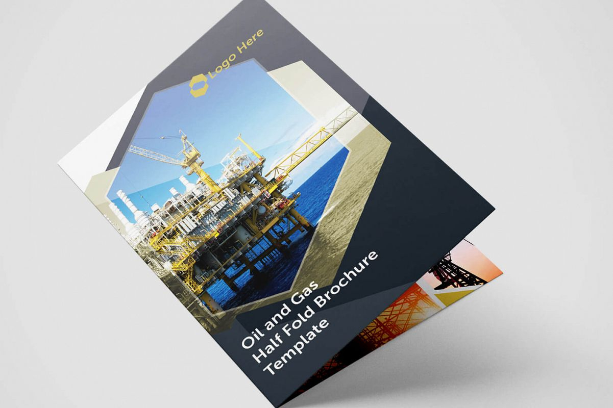 Half Fold Oil And Gas Brochure Template With Regard To Half Page Brochure Template