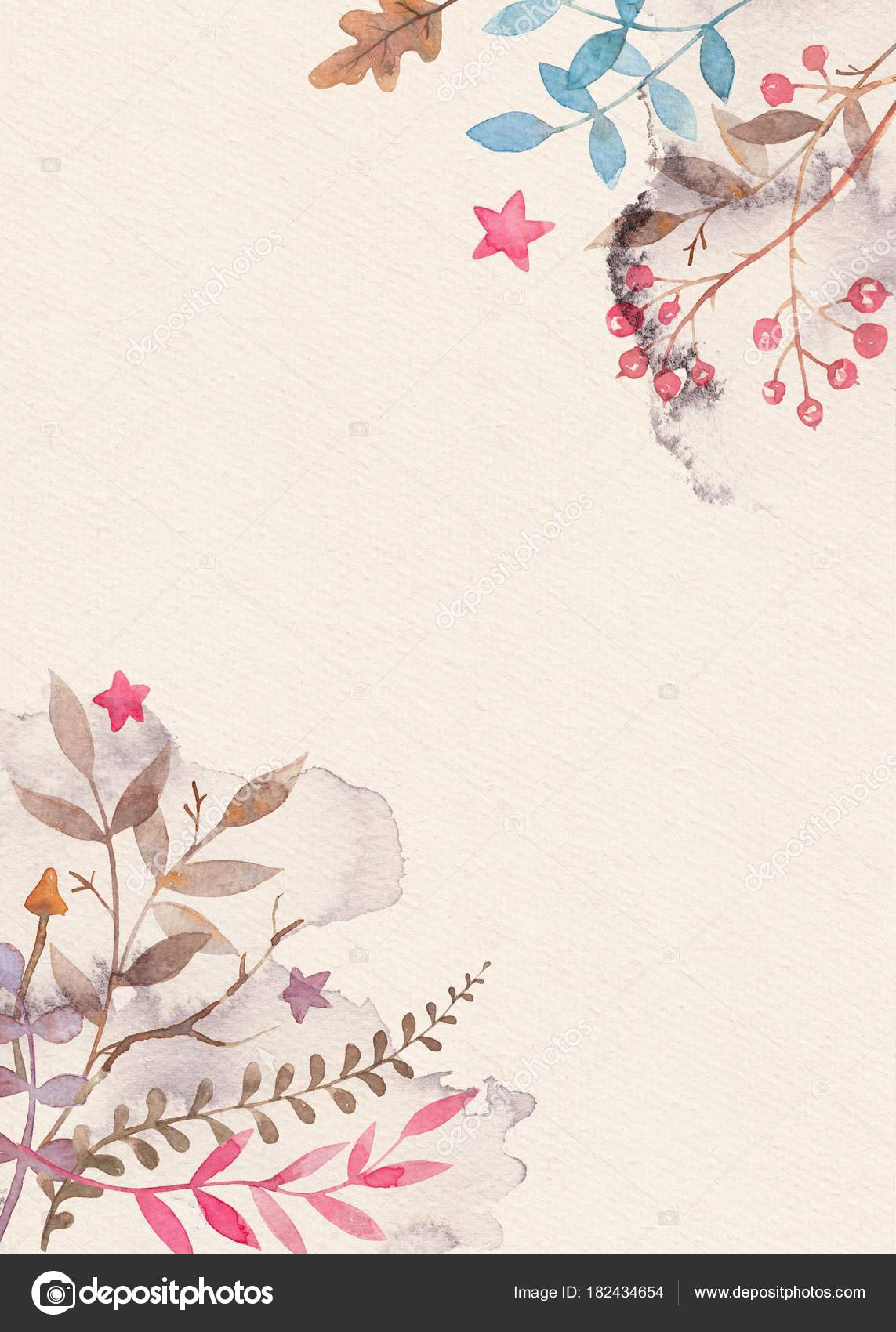 Hand Drawn Watercolor Greeting Card Template With Floral In Greeting Card Layout Templates