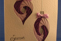 Handmade Christmas Card  Two Baubles With Pink And Purple in Iris Folding Christmas Cards Templates
