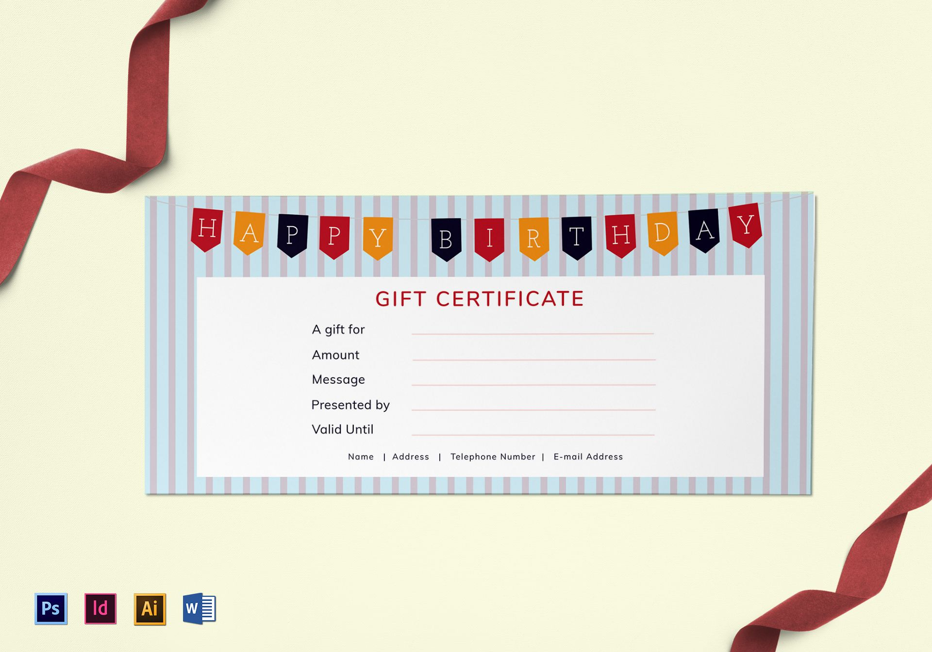 Happy Birthday Gift Certificate Template Throughout Gift Certificate Template Indesign
