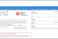 Heartsaver First Aid Cpr Aed Card Template – Template 1 for Cpr Card Template