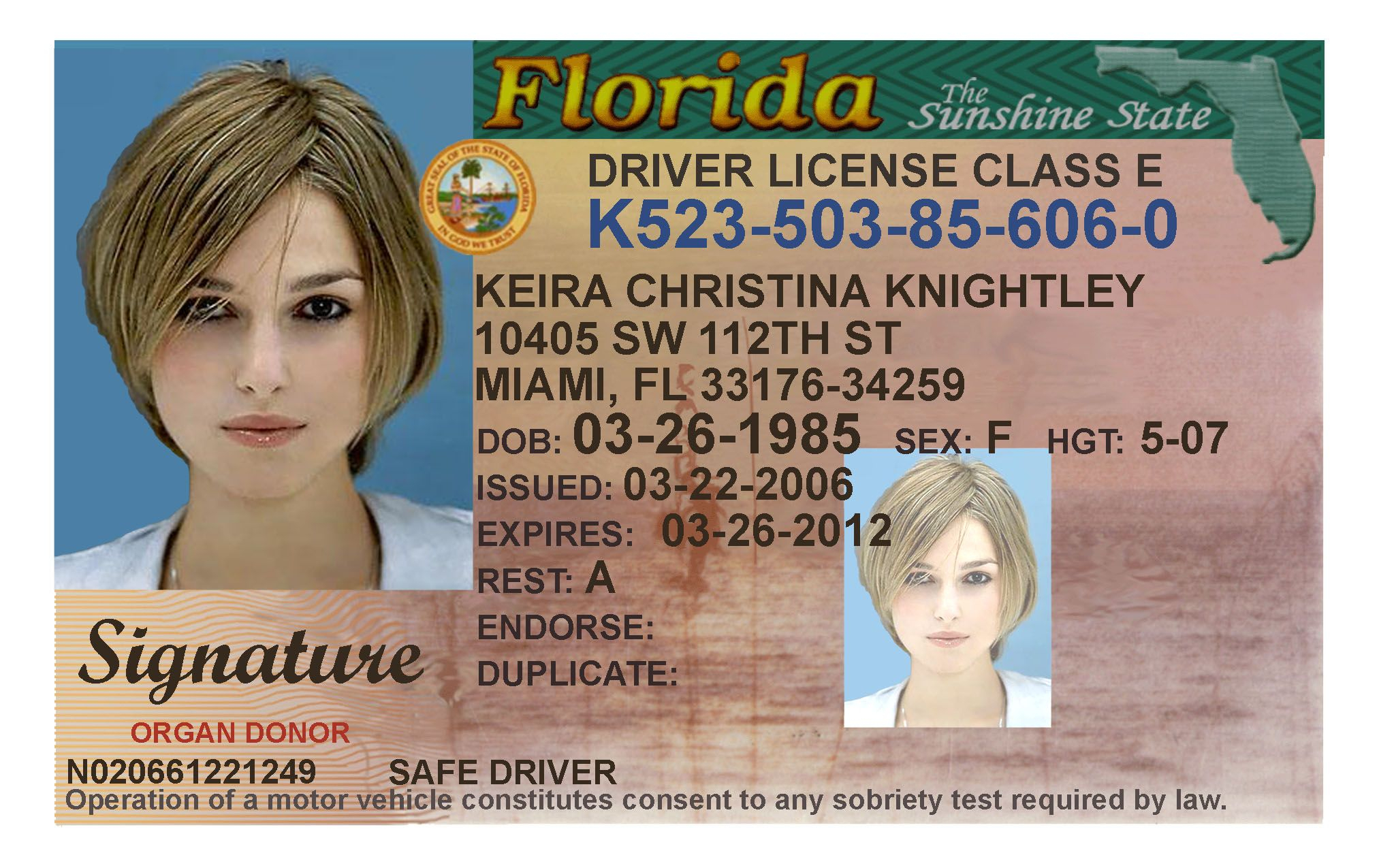 Here's A Sample Of A Fake Florida Id Card That's Solda In Florida Id Card Template