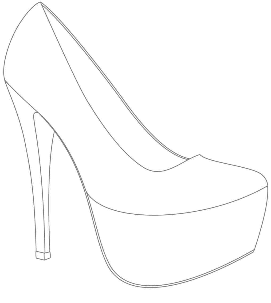 High Heel Drawing Template At Paintingvalley | Explore Intended For High Heel Template For Cards