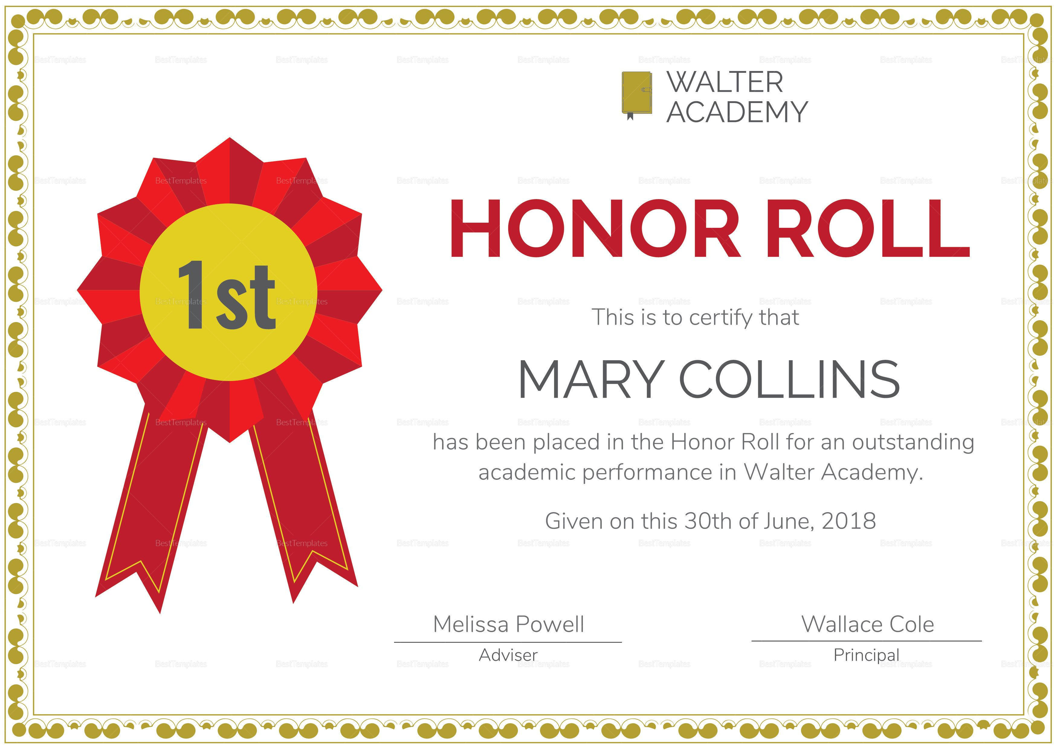 Honor Roll Certificate Template   Awards Certificates Inside Honor Roll Certificate Template