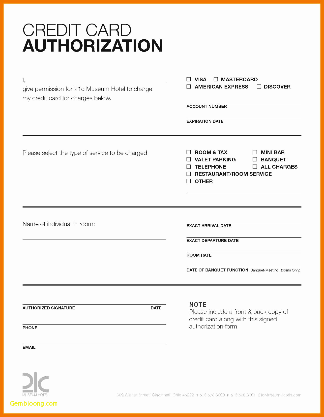 Hotel Credit Card Authorization Form Template Elegant Pertaining To Hotel Credit Card Authorization Form Template
