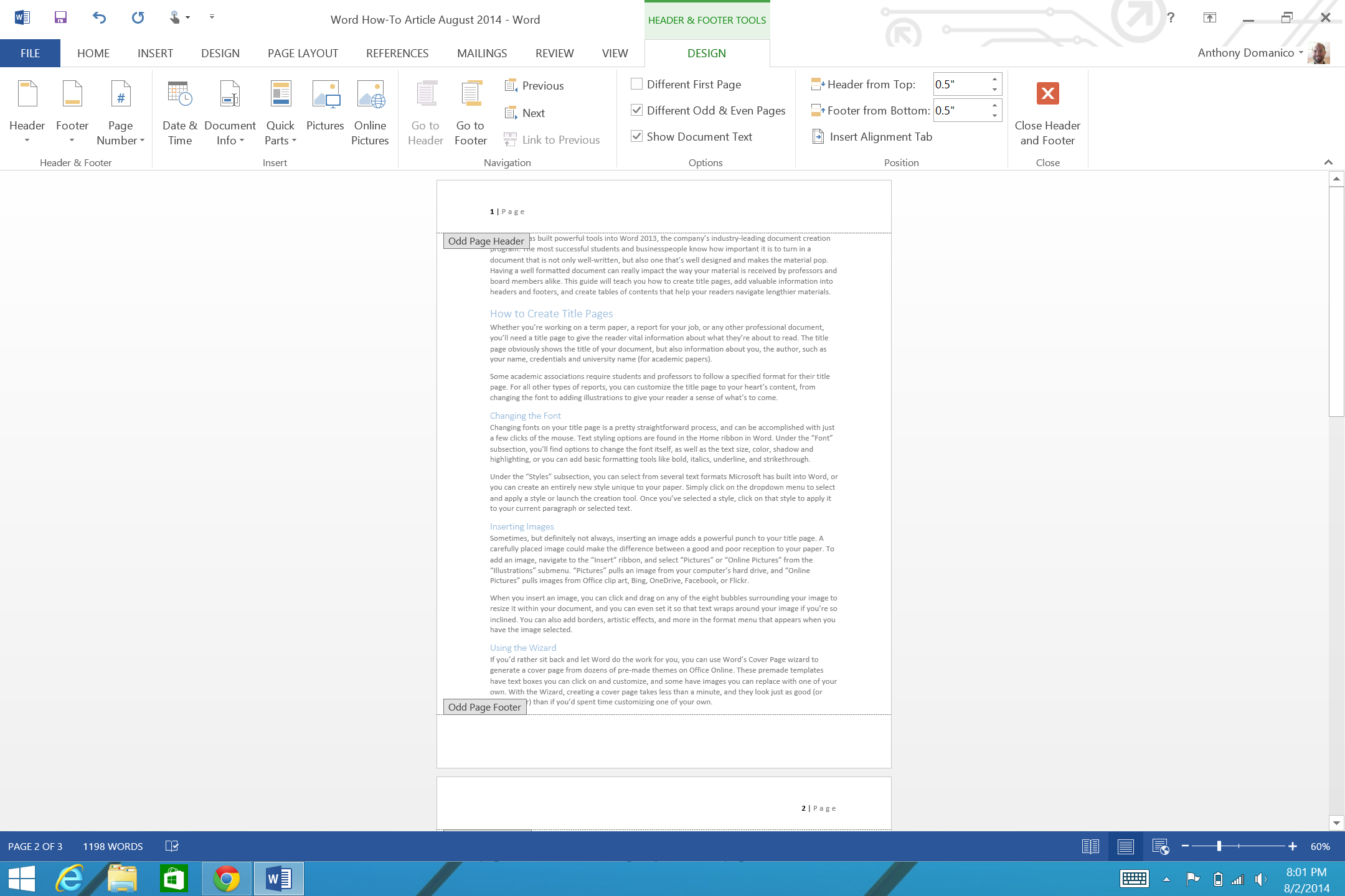 How To Add Page Numbers And A Table Of Contents To Word Intended For Contents Page Word Template