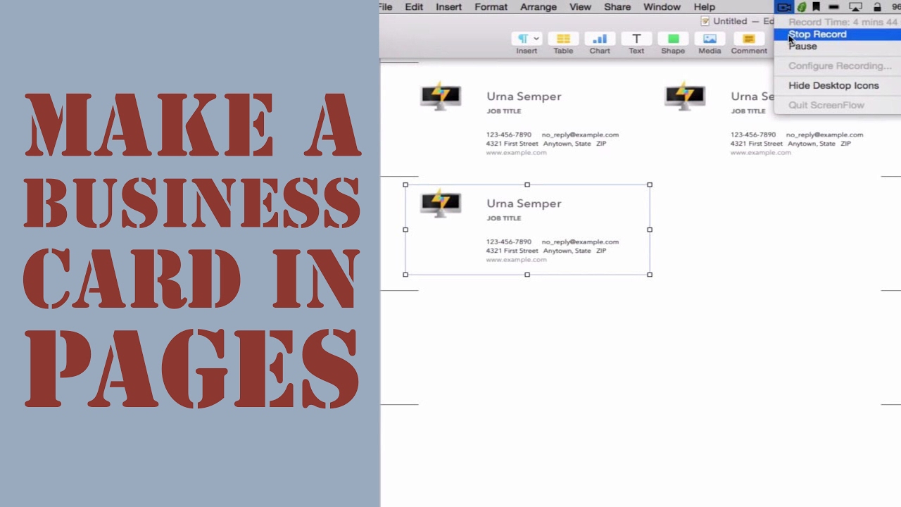 How To Create A Business Card In Pages For Mac (2014) Pertaining To Business Card Template Pages Mac