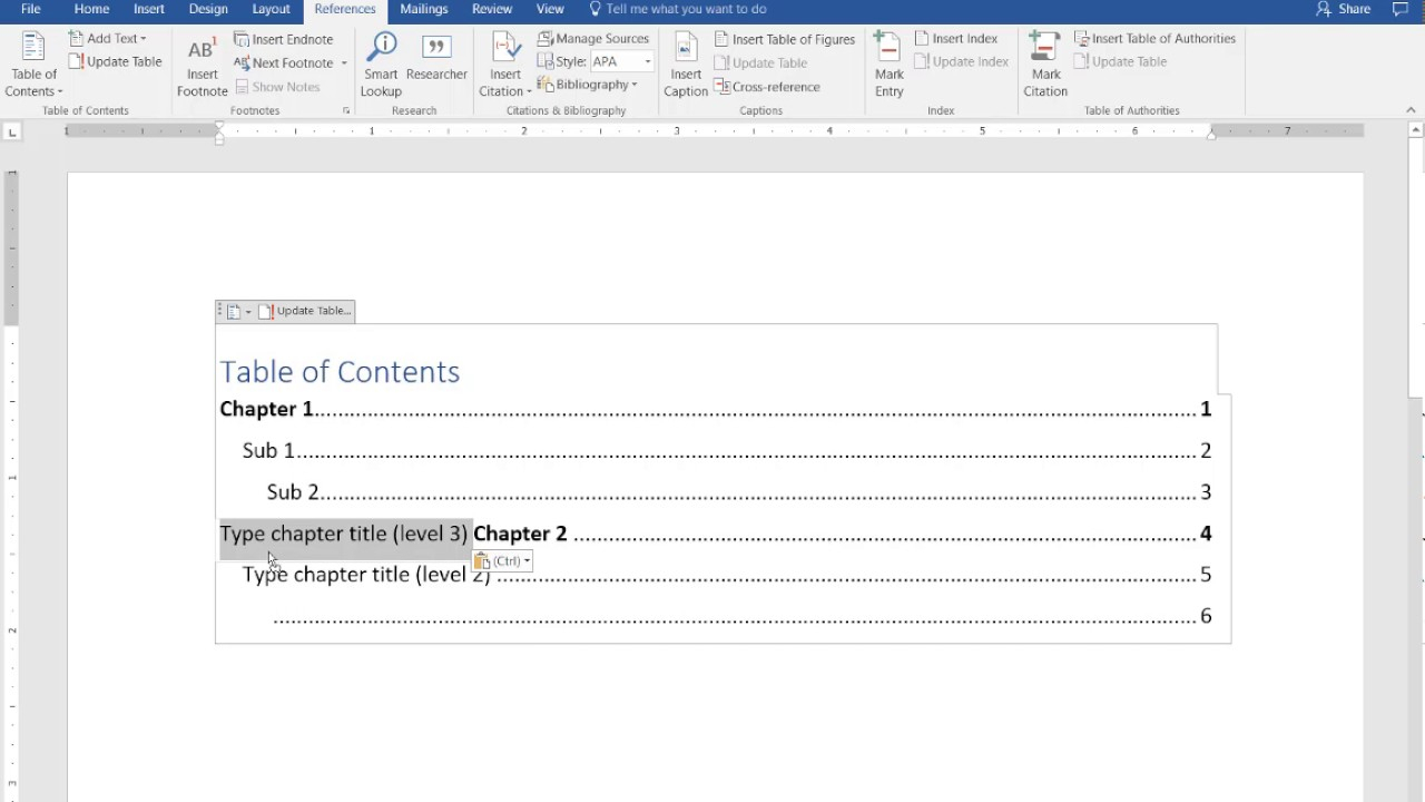 How To Create A Manual Table Of Contents In Word 2016 Intended For Contents Page Word Template
