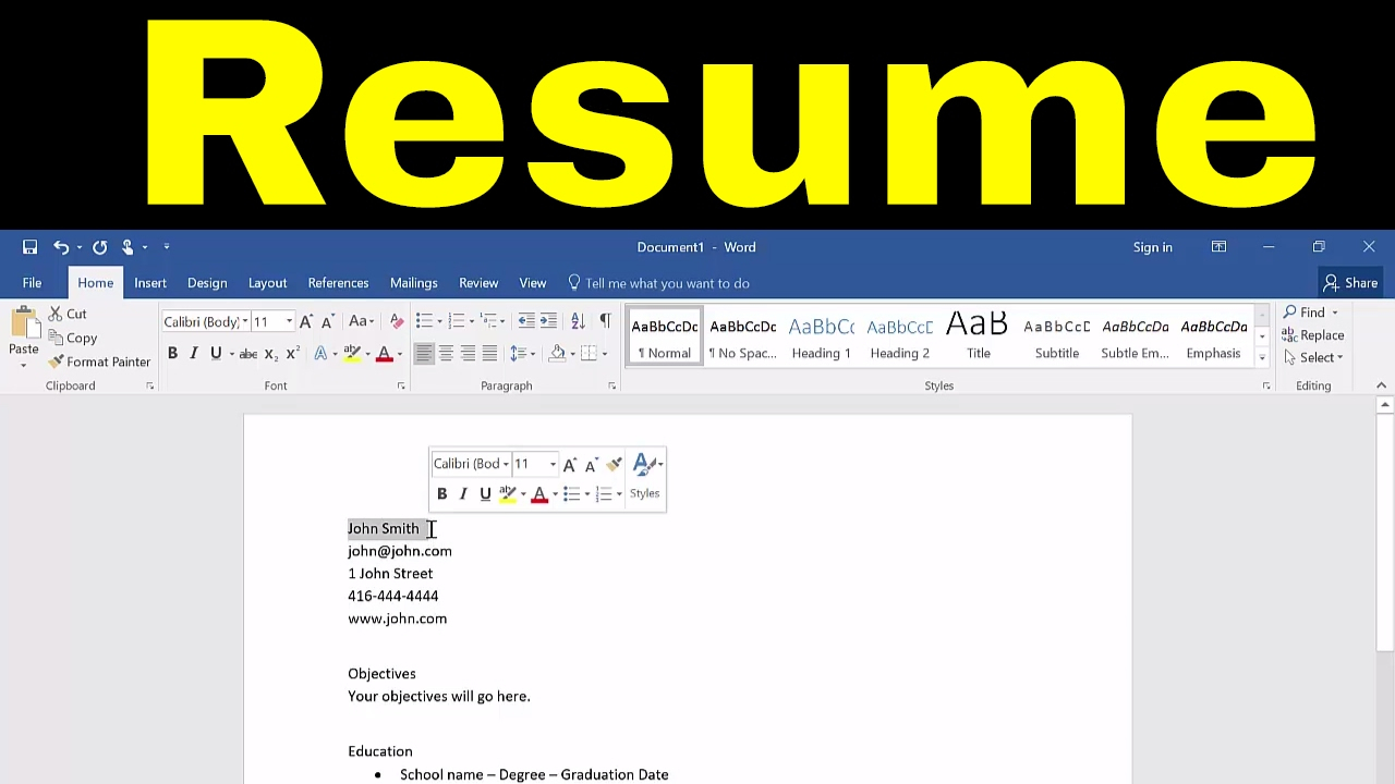 How To Create A Resume In Microsoft Word Tutorial With Regard To How To Create A Cv Template In Word